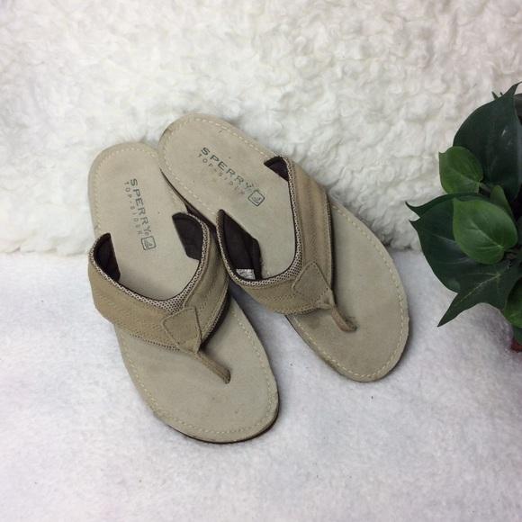 Sperry Top Sider Leather Flip Flop Sandals Sz 10